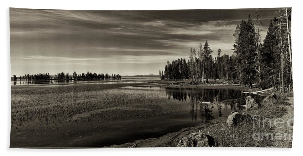 Yellowstone Bath Sheet featuring the photograph Pelican Bay Morning - Yellowstone by Sandra Bronstein
