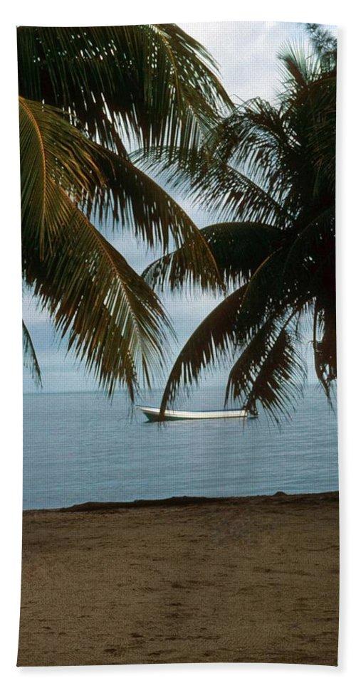 Blue Sky Bath Sheet featuring the photograph Pelican Beach Belize by Gary Wonning
