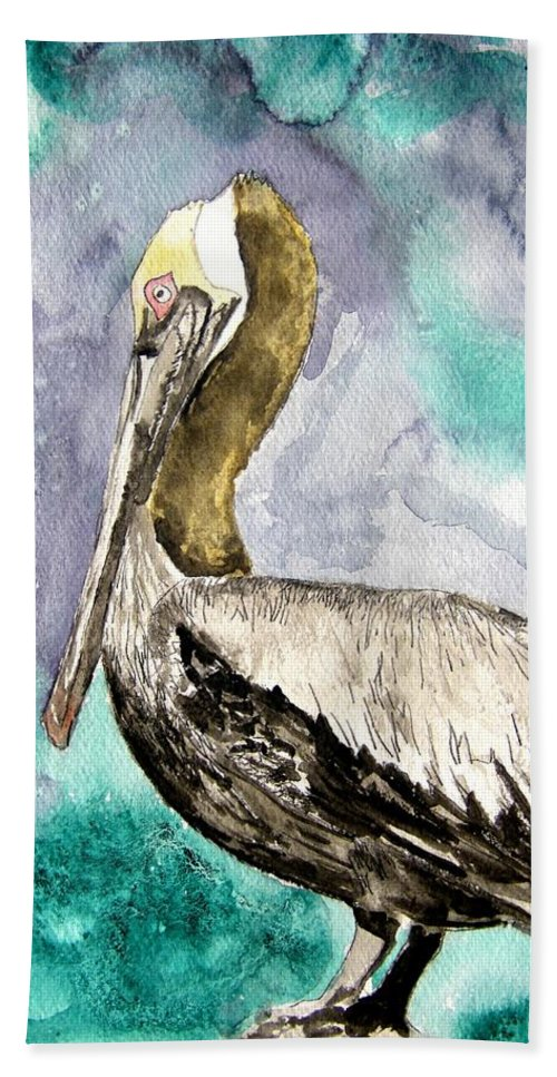 Pelican Hand Towel featuring the painting Pelican by Derek Mccrea