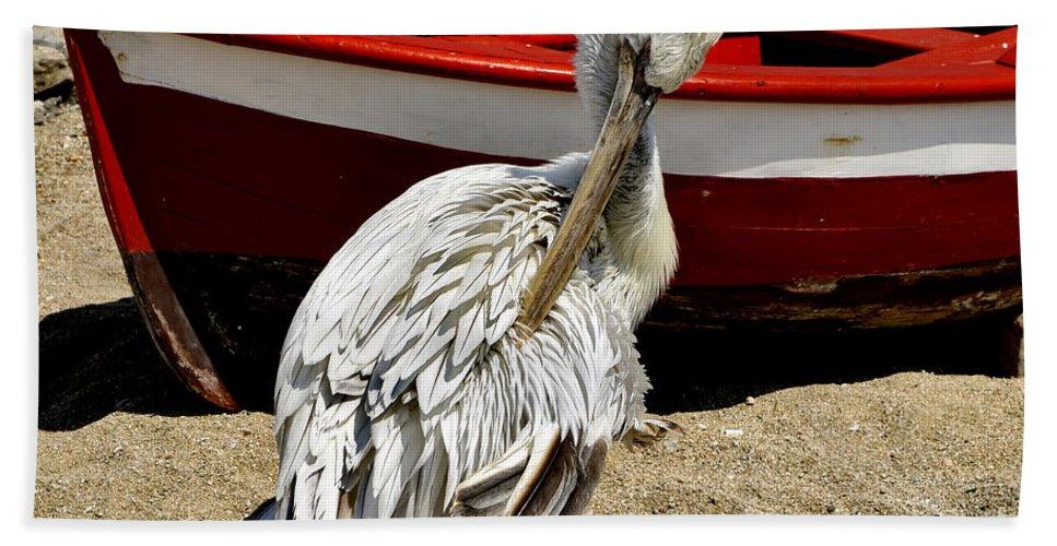 Pelican Hand Towel featuring the photograph Pelican In Mykonos II by Madeline Ellis