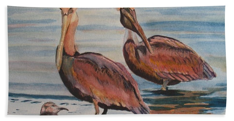 Pelicans Hand Towel featuring the painting Pelican Party by Karen Ilari