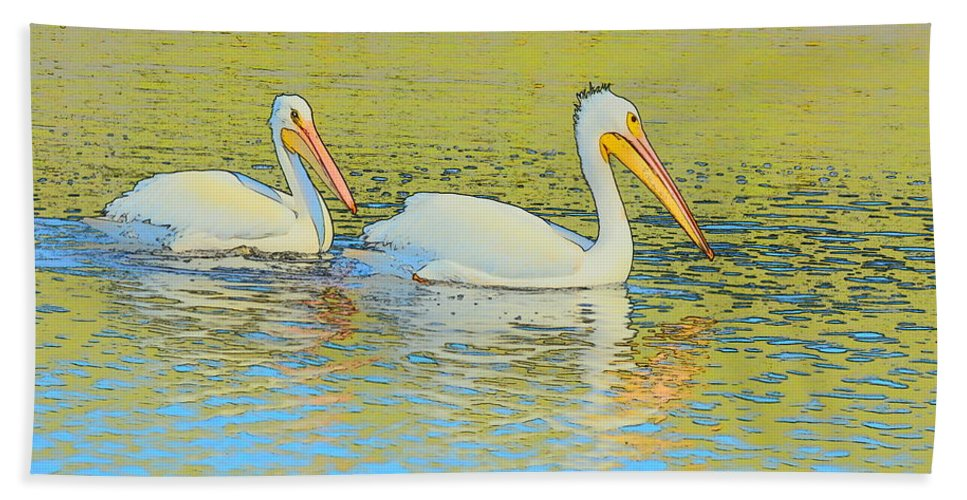 Pelicans Hand Towel featuring the photograph Pelican Plus One by Patricia Twardzik