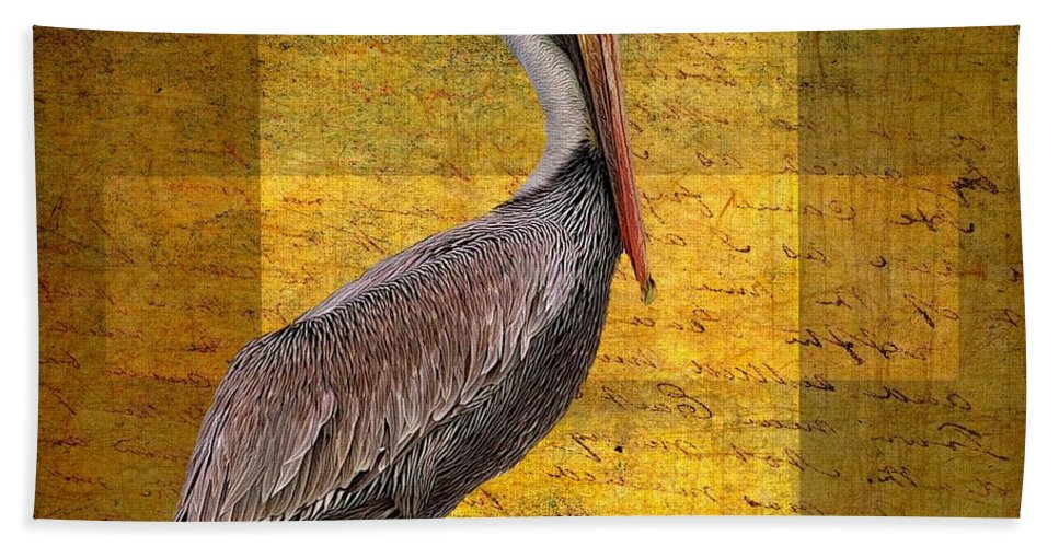 Alicegipsonphotographs Hand Towel featuring the photograph Pelican Poetry by Alice Gipson