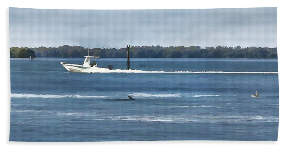 Florida Bath Sheet featuring the photograph Pelican Porpoise And Fishermen by Mark Fuge