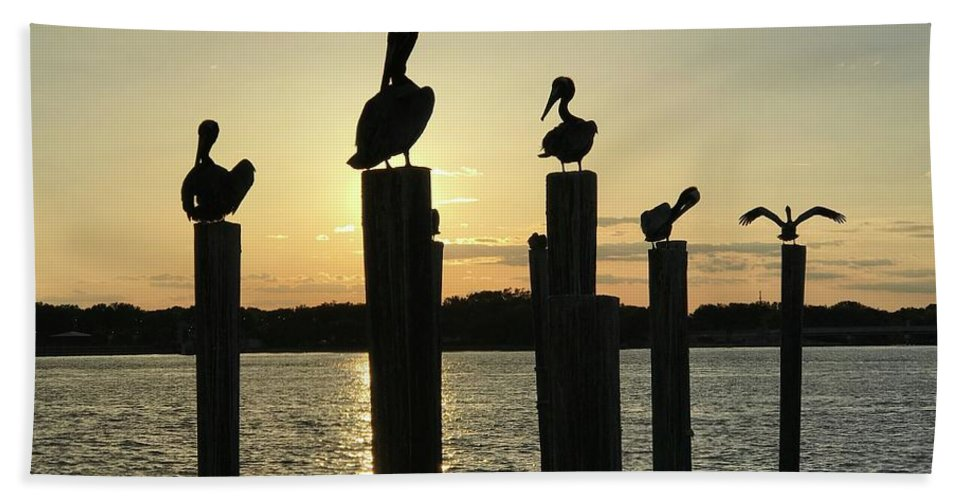 Pelican Bath Towel featuring the photograph Pelicans At Sunset by Sharon Bowling