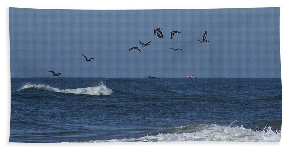 Pelicans Hand Towel featuring the photograph Pelicans Over The Atlantic by Teresa Mucha