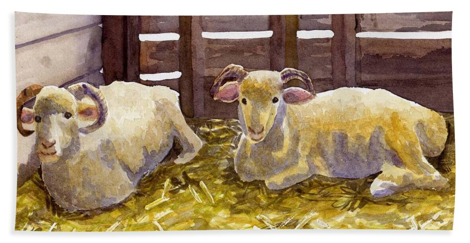 Sheep Bath Towel featuring the painting Pen Pals by Sharon E Allen