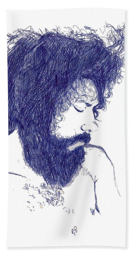 Portrait Bath Sheet featuring the digital art Pen Portrait by Ron Bissett