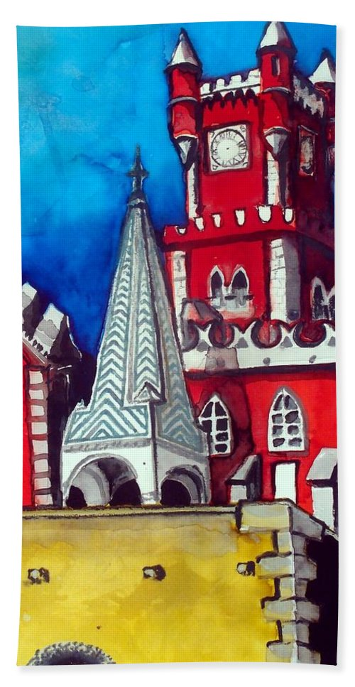 Palace Hand Towel featuring the painting Pena Palace In Portugal by Dora Hathazi Mendes