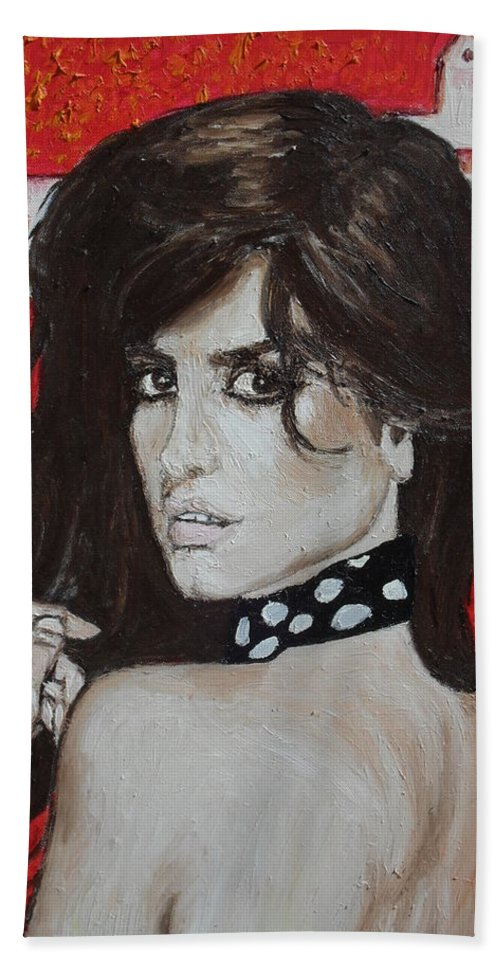 Impressionist Bath Sheet featuring the painting Penelope Cruz by Agnes V