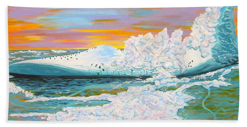 Ice Hand Towel featuring the painting The Last Iceberg by V Boge