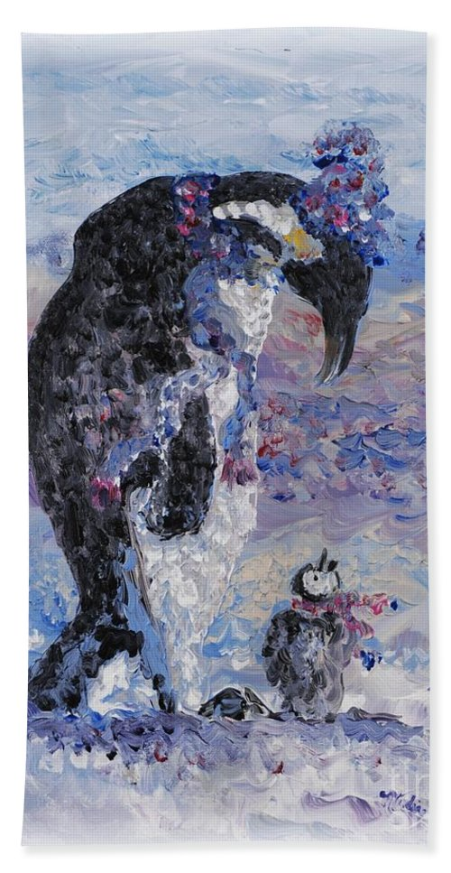 Penguins Winter Snow Blue Purple White Bath Sheet featuring the painting Penguin Love by Nadine Rippelmeyer