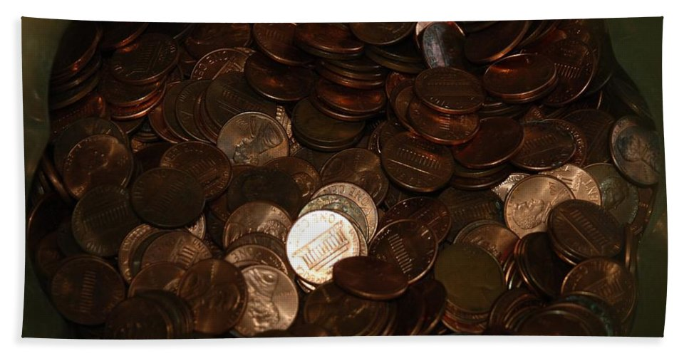 Pennies Hand Towel featuring the photograph Pennies by Rob Hans