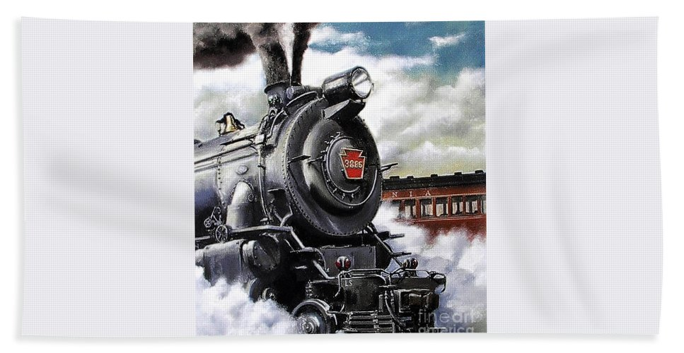 Pennsylvania Railroad Train Painting Railroad Maryland And Pennsylvania Autumn Fall Colors Steam Engine Bath Towel featuring the painting Pennsy #3885 by David Mittner