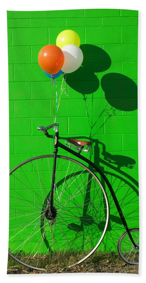 Penny Farthing Bike Hand Towel featuring the photograph Penny Farthing Bike by Garry Gay