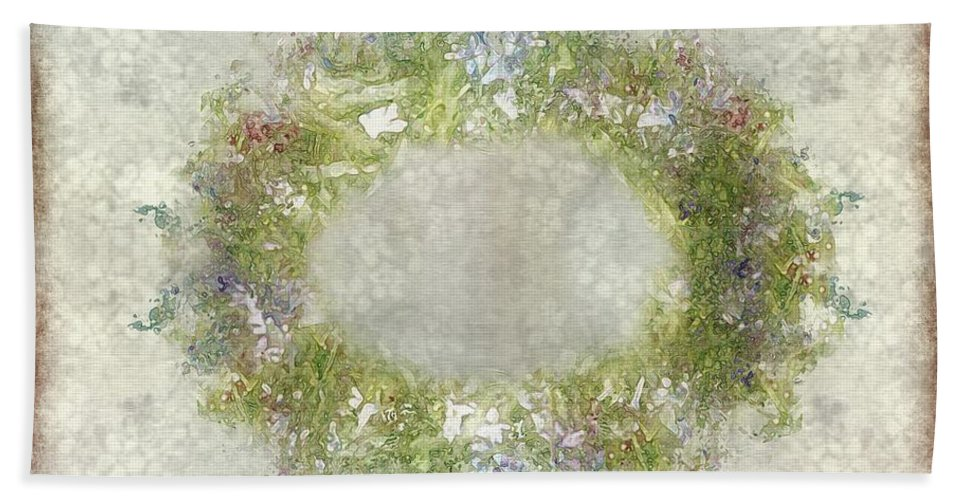 Flowers Bath Sheet featuring the painting Penny Postcard Rustic by RC DeWinter