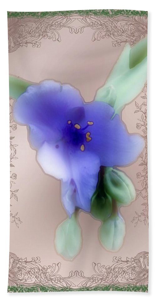 Blossoms Hand Towel featuring the painting Penny Postcard Wildflower by RC DeWinter