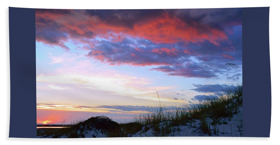 Sunset Hand Towel featuring the photograph Pensacola Sunset After The Storm by Marie Hicks