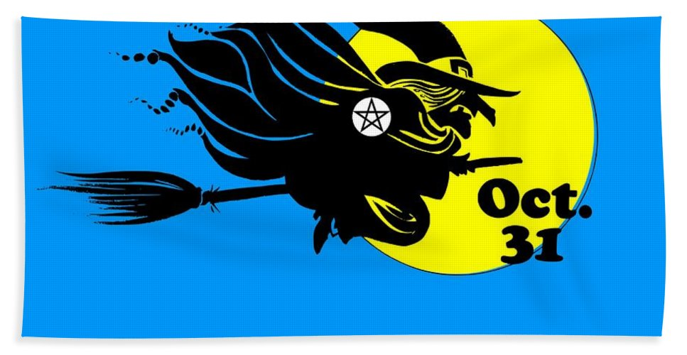Religion Bath Sheet featuring the digital art Pentacle Halloween Witch by Frederick Holiday