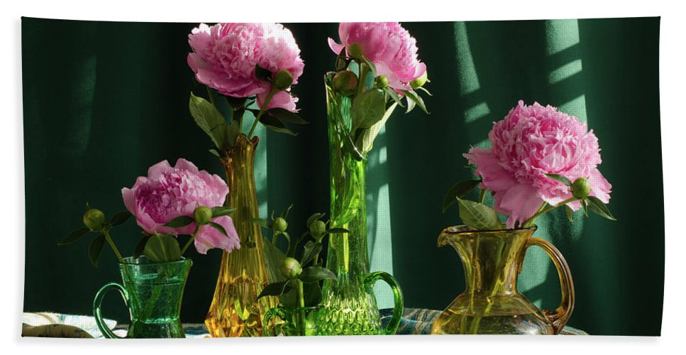 Peonies Bath Sheet featuring the photograph Peonies #4 by Wendy Blomseth