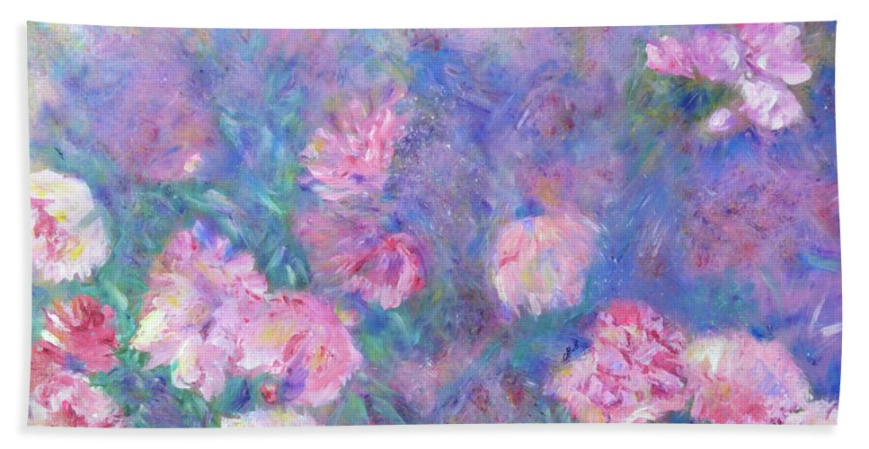 Peonies Bath Sheet featuring the painting Peonies by Claire Bull