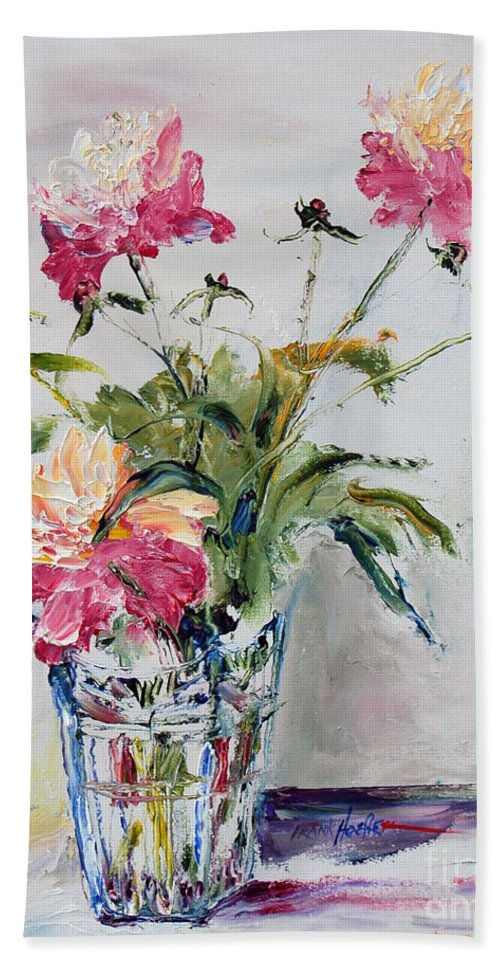 Hand Towel featuring the painting Peonies In Crystal Vase by Frank Hoeffler