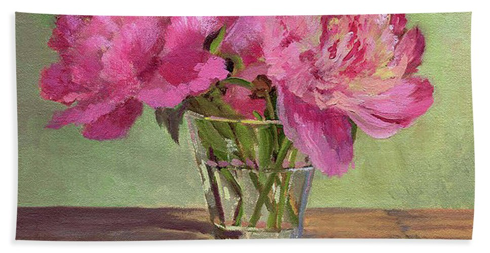 Still Bath Sheet featuring the painting Peonies In Tumbler by Keith Burgess