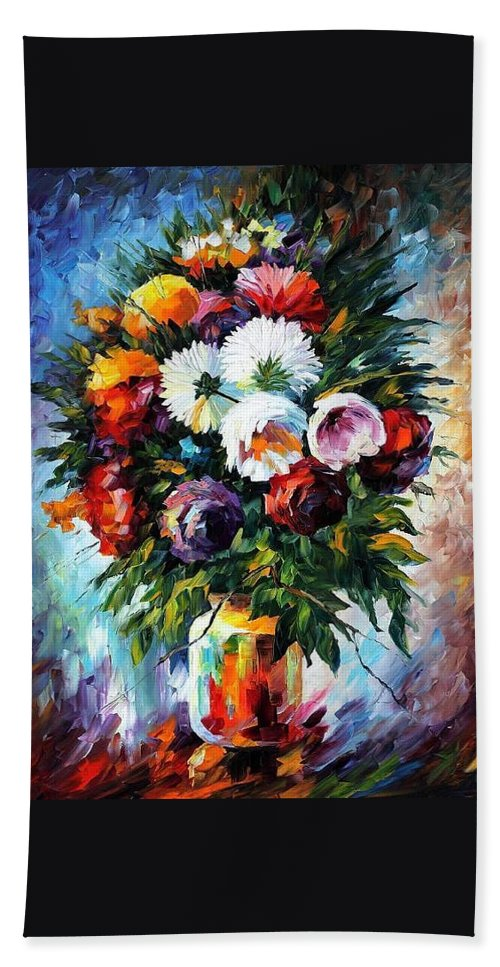 Afremov Bath Sheet featuring the painting Peonies by Leonid Afremov