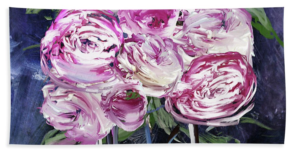 Peony Bath Towel featuring the painting Peony Jar by Mindy Sommers