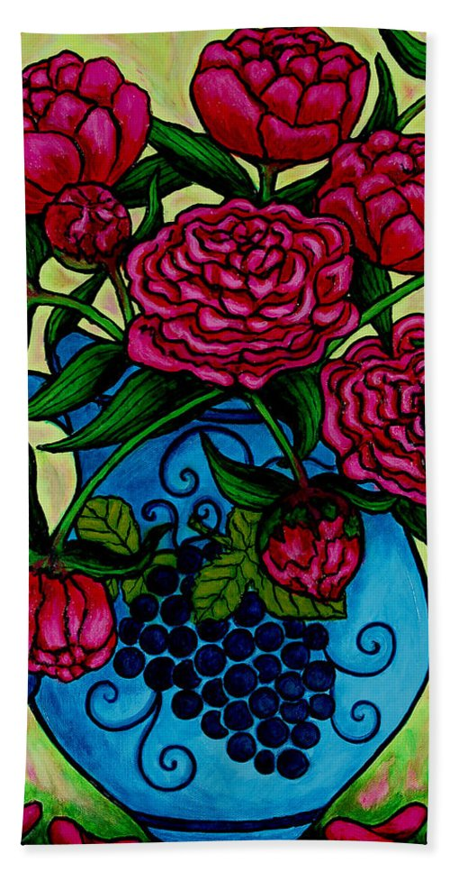 Peonies Bath Sheet featuring the painting Peony Party by Lisa Lorenz