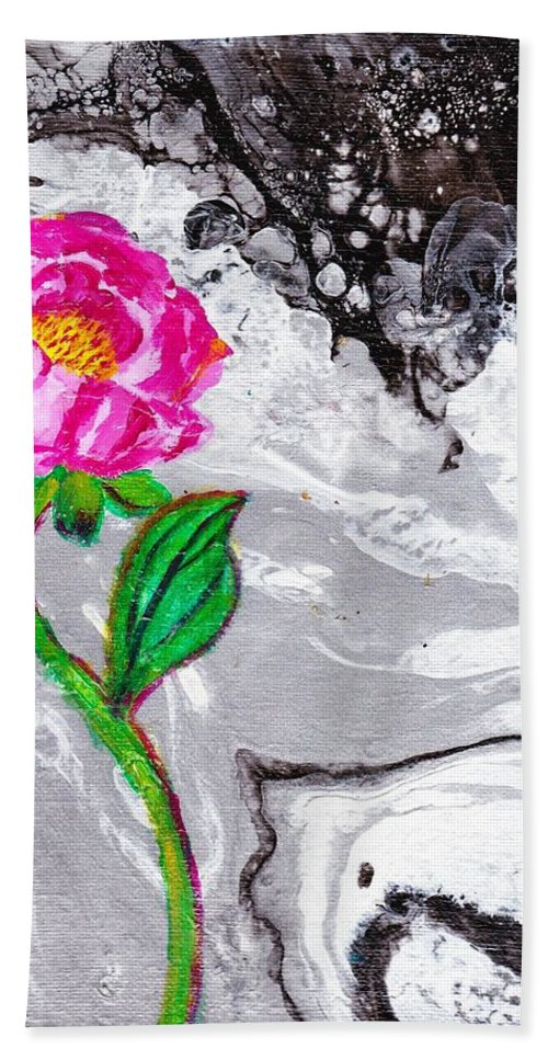 Flower Hand Towel featuring the painting Peony by Stormy Miller