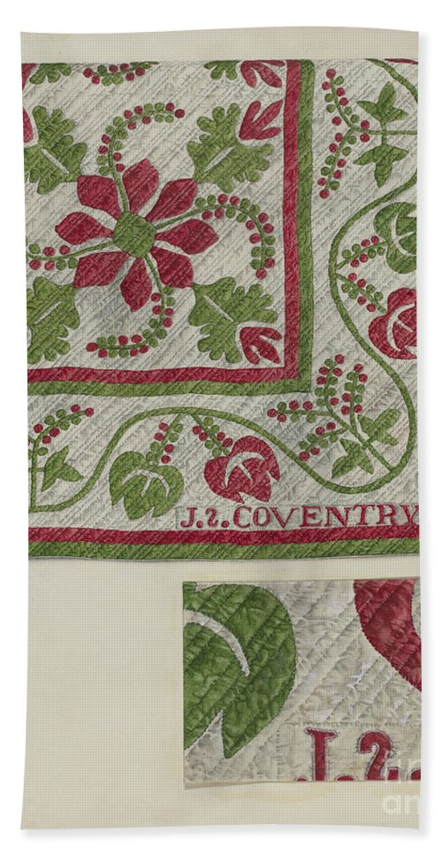 Hand Towel featuring the drawing Pepperberry Quilt by Ralph Atkinson