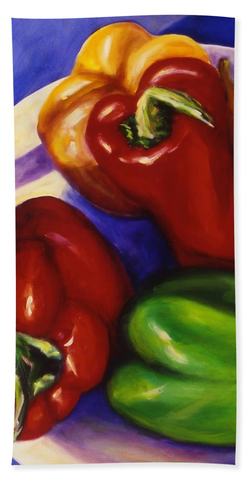 Still Life Peppers Bath Sheet featuring the painting Peppers In The Round by Shannon Grissom