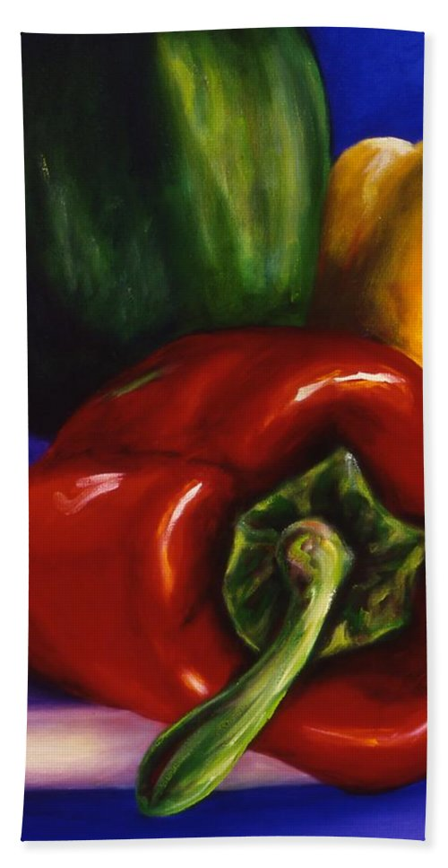 Still Life Hand Towel featuring the painting Peppers On Peppers by Shannon Grissom
