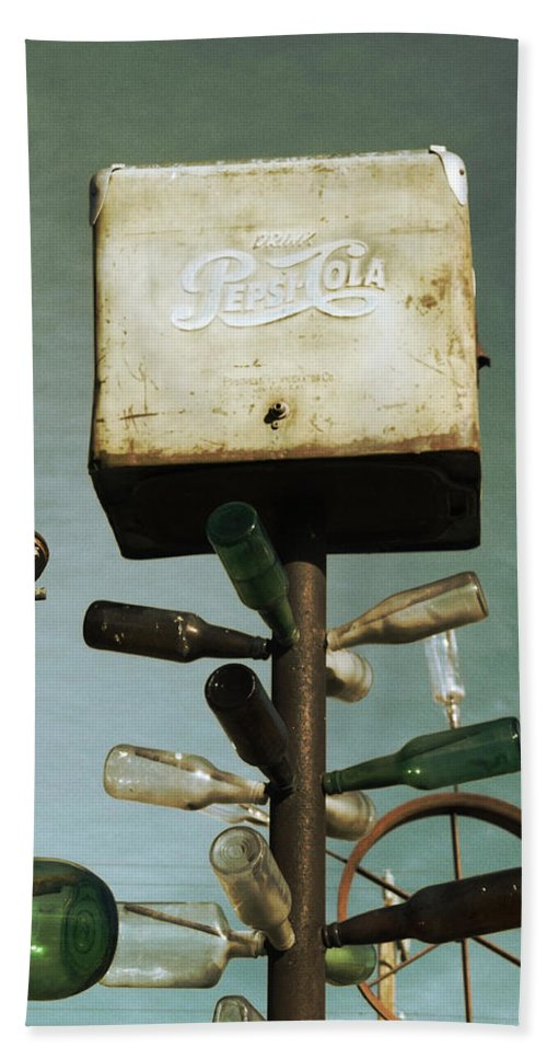 Glenn Mccarthy Bath Sheet featuring the photograph Pepsi Bottle Tree - Route 66 by Glenn McCarthy Art and Photography