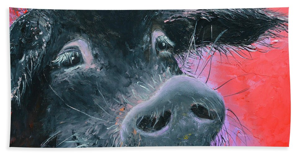 Pig Hand Towel featuring the painting Percival The Black Pig by Jan Matson