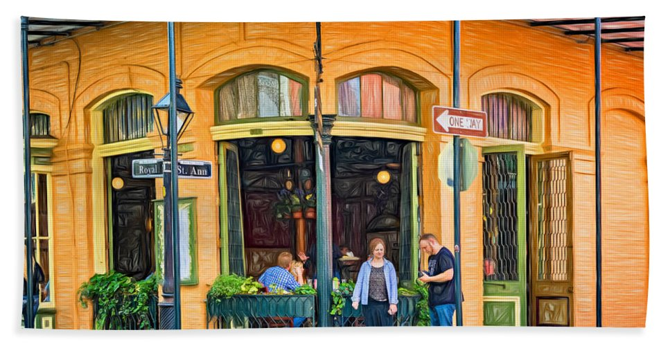 French Quarter Hand Towel featuring the photograph Pere Antoine Restaurant - Paint by Steve Harrington