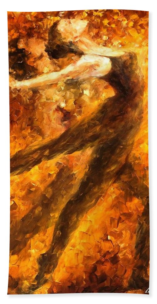 Art Gallery Bath Sheet featuring the painting Perfection Of Practice - Palette Knife Oil Painting On Canvas By Leonid Afremov by Leonid Afremov