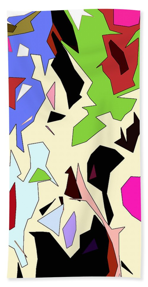 Abstract Hand Towel featuring the digital art Perhaps Departure Panel Two Of Four by Linda Mears