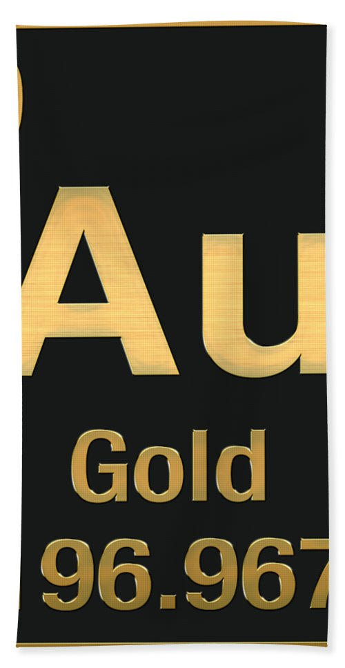 Periodic table of elements gold au gold on black bath towel the elements collection by serge averbukh bath towel featuring the digital art periodic table urtaz