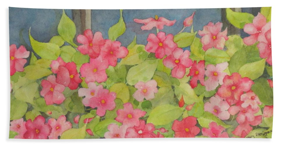 Flowers Bath Towel featuring the painting Perky by Mary Ellen Mueller Legault