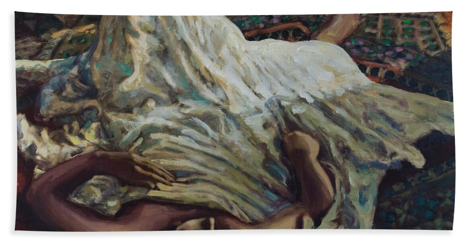 Figurative Bath Towel featuring the painting Persian Rugs by Rick Nederlof