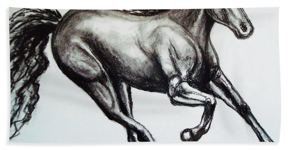 Horse Bath Sheet featuring the drawing Persistance by Elizabeth Robinette Tyndall