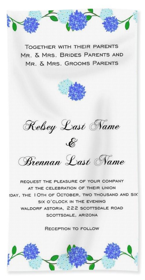 Personalized Wedding Invitations Bath Sheet featuring the drawing Personalized Wedding Invitations by Priscilla Wolfe