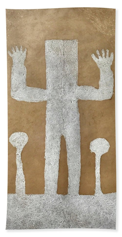 Rufino Tamayo Hand Towel featuring the mixed media Personnage With Two Trees by Rufino Tamayo