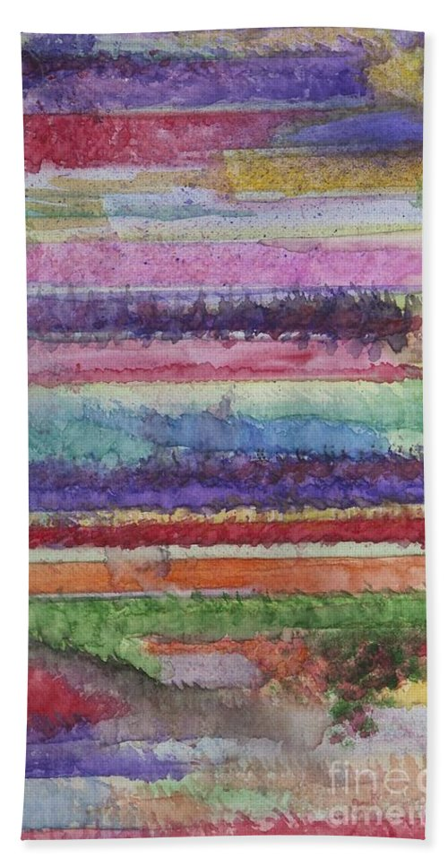 Colorful Hand Towel featuring the painting Perspective by Jacqueline Athmann
