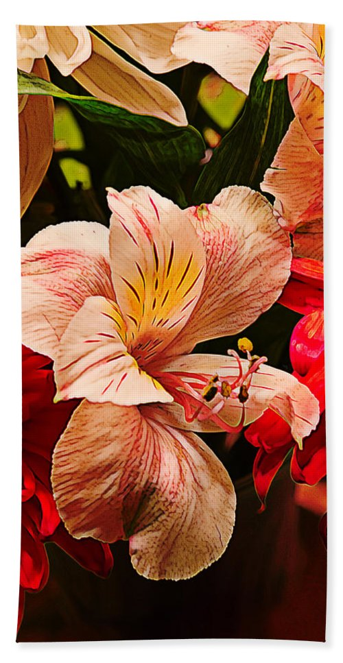 Yellow Hand Towel featuring the photograph Peruvian Lily Grain by Bill Tiepelman