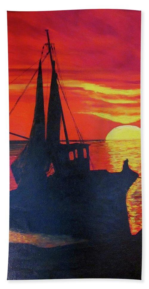 Piero C. - Peschereccio E Tramonto -ship And Sunset - Seascape - Original Oil Painting On Canvas By Piero C. Bath Sheet featuring the painting Peschereccio E Tramonto by Piero C