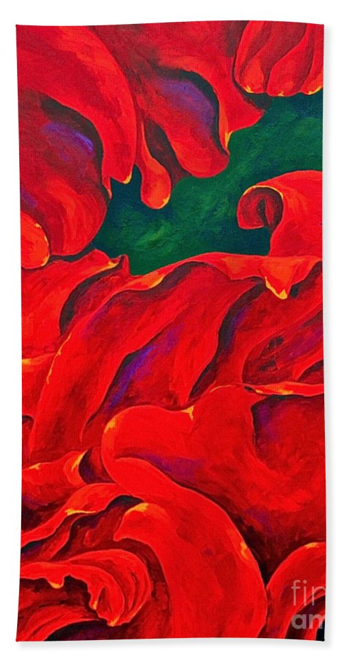 Rose Red Rose Petals Abstract By Herschel Fall Bath Sheet featuring the painting Petals by Herschel Fall