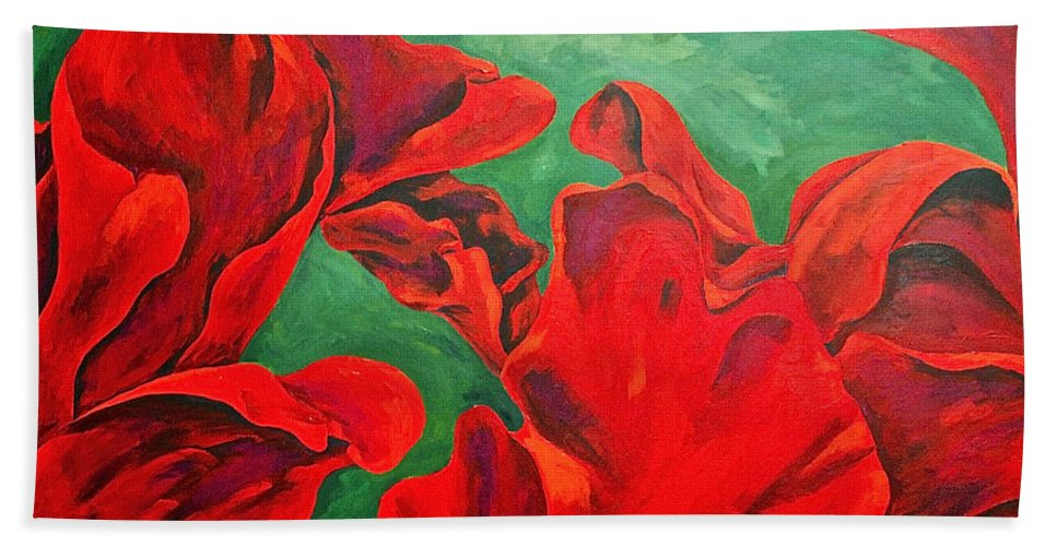 Abstracts / Rose Petals Hand Towel featuring the painting Petals Of Fire by Herschel Fall